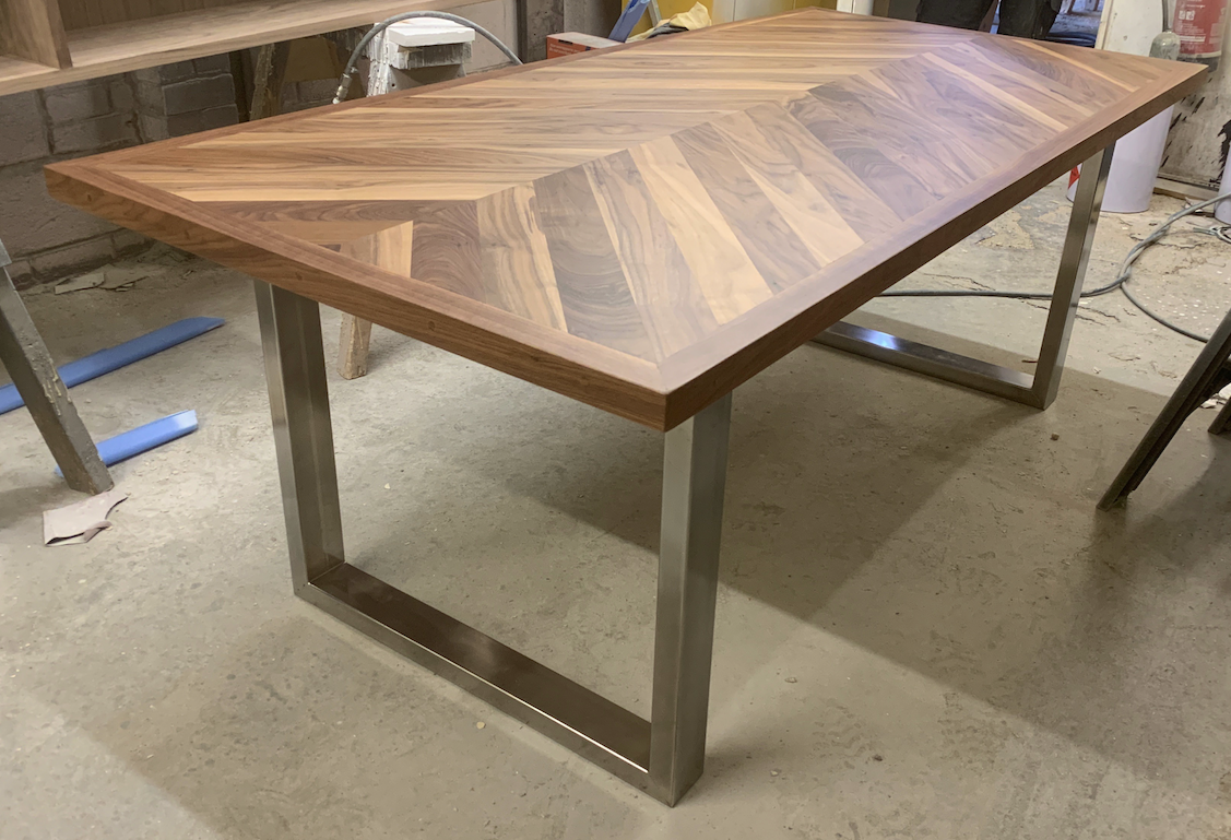 Walnut herringbone table
