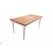 Farmhouse Style Table - Table Shown with Tulipwood Painted Frame - Custom Elm Top with pencil round profile & 50mm radius corner