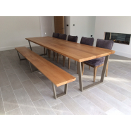 Mordern Table In oak (Olive green Powder coated legs) + matching bench